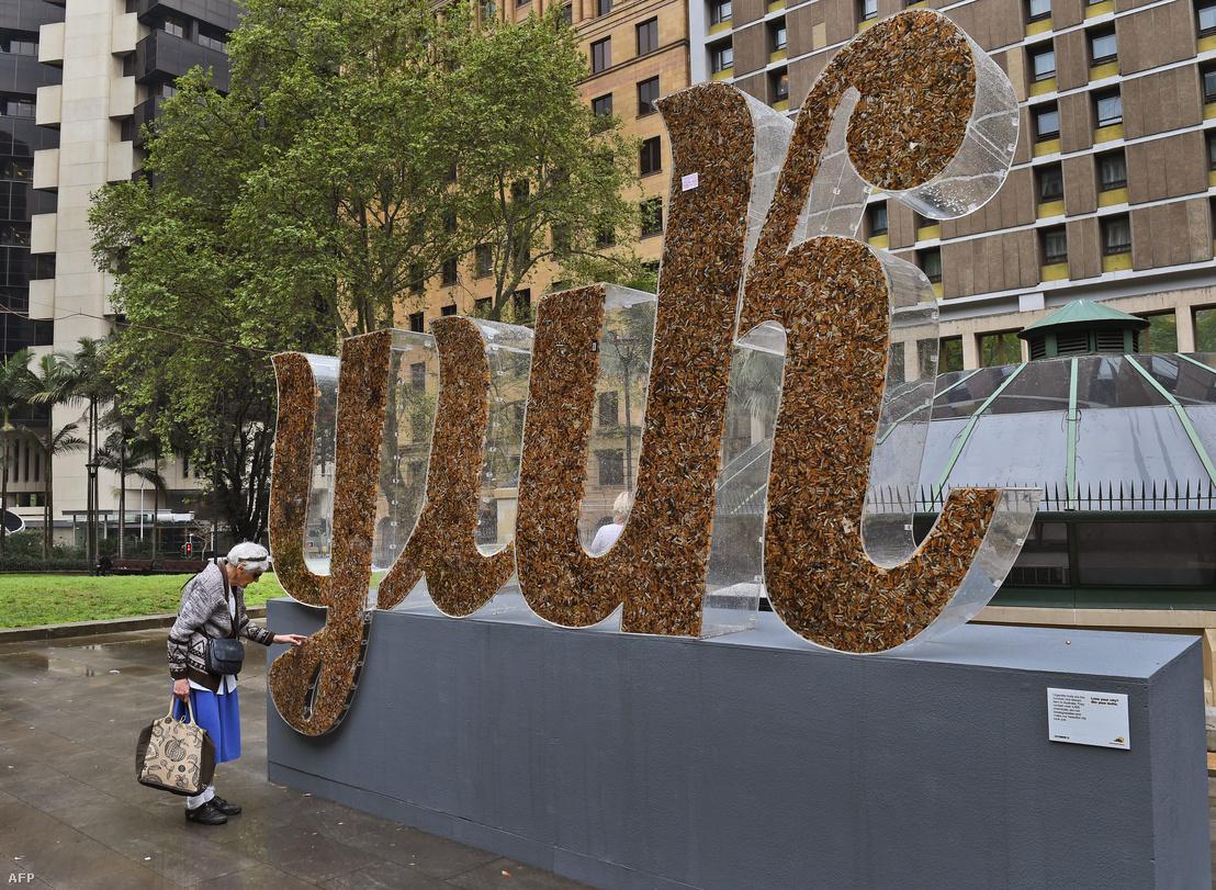 Cigarettacsikkek felhasználásával készült alkotás Sydney üzleti negyedében 2014. szeptember 25-én