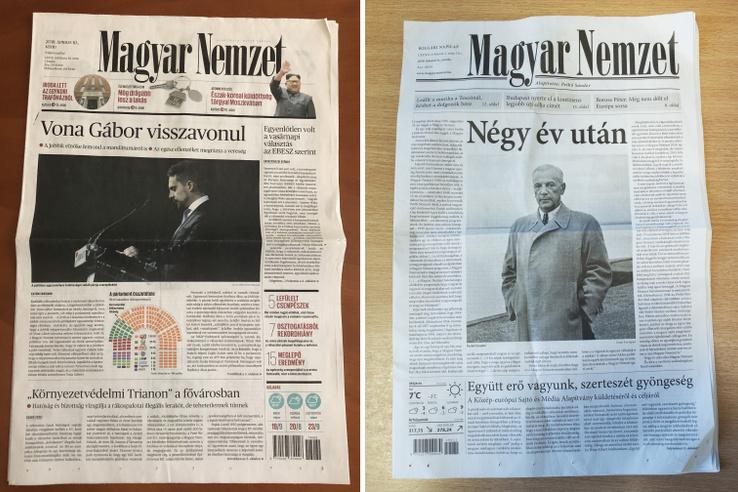 Egy év után tért vissza a nyomtatott Magyar Nemzet, miután a G-naptól kormánykritikussá váló újság Simicska Lajos oligarchától visszakerült a kormánypárt bűvkörébe. Az újság címlapján ezért is virít az, hogy Négy év után, annak a cikknek a címe, amelyben újra köszöntik az olvasóikat. Csak az érdekesség kedvéért, összehasonlítjuk a négy évvel ezelőtti utolsó számot, a mostani első számmal.