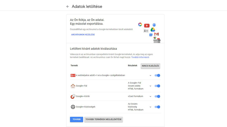 Itt menekíthetők ki a Google+-os adatok.