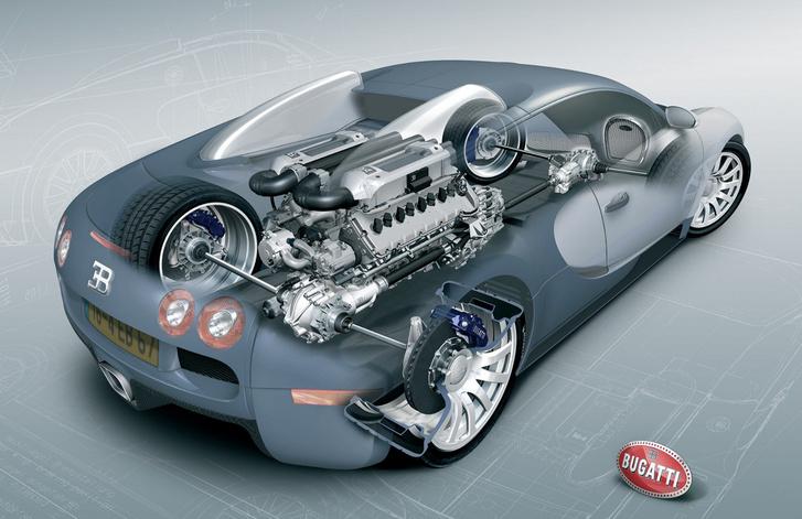 Az a hatalmas vastömb a Bugatti közepén egy 16 hengeres motor