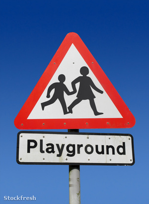 stockfresh 419799 red-playground-road-sign sizeM