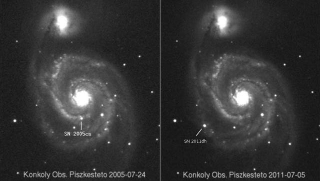 A szegedi kutatók képei a szupernóva megjelenéséről