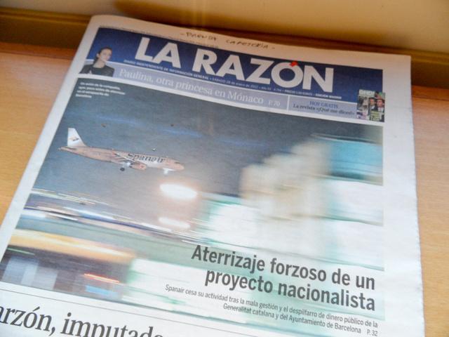 Az újságok címlapjai tele voltak a Spanairrel. Állítólag a 154 életet követelő 2008-as madridi baleset óta stabilan csökkent az utasszám
