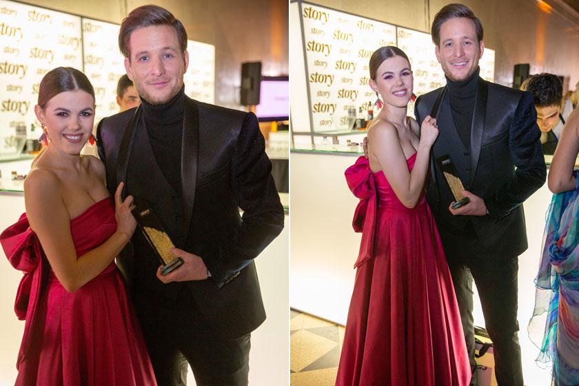 Csobot Adél a Monik Fashion pink kreációjában feszített büszkén díjazott párja, Istenes Bence mellett.