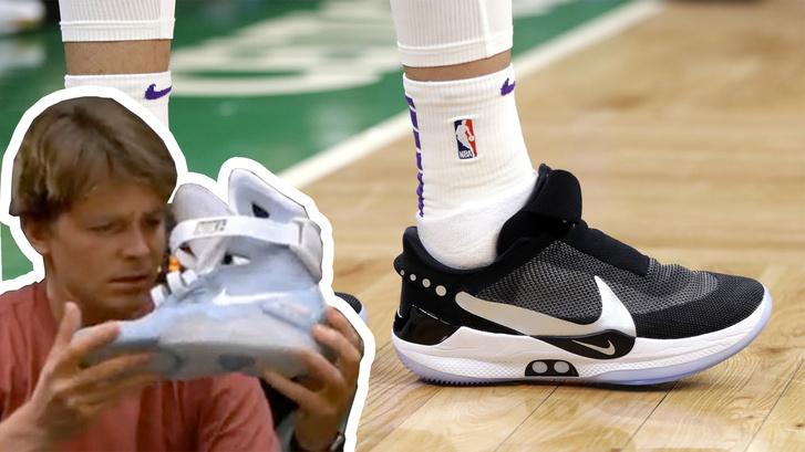 McFly cipője éles bevetésen: 2019. február 7-én készített kép Kyle Kuzmának, a Los Angeles Lakers játékosának az önmegkötő cipőjéről a Boston Celtics elleni mérkőzésen, Bostonban