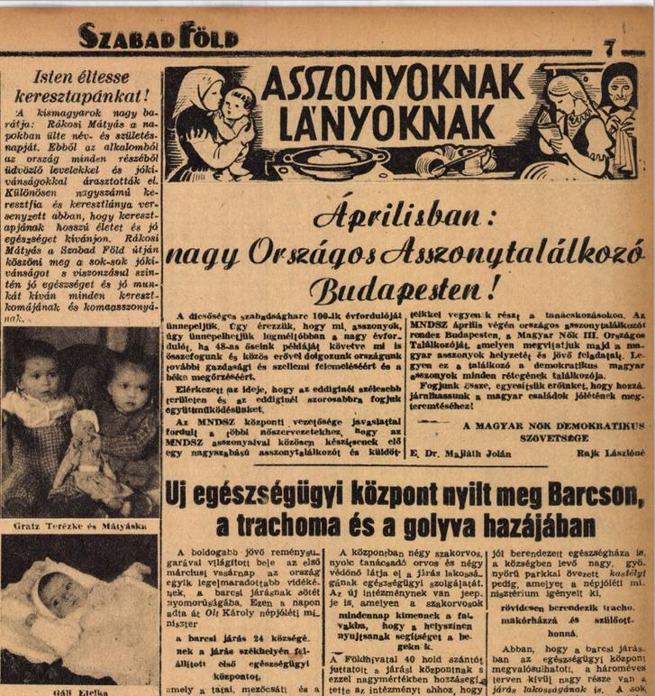 Gratz Terézke és Mátyáska, Gáll Etelka. Rákosi-keresztgyerekek fotói a Szabad Föld 1948. március 14-i számában