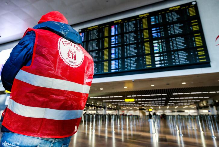 A brüsszeli Zaventem repülőtér utascsarnoka február 13-án