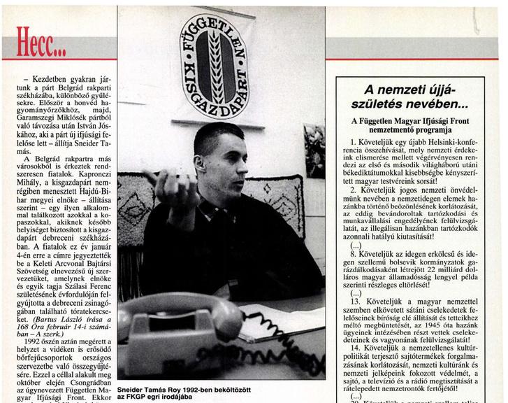 Sneider Tamás 1995. március 7-én a 168 óra cikkében.