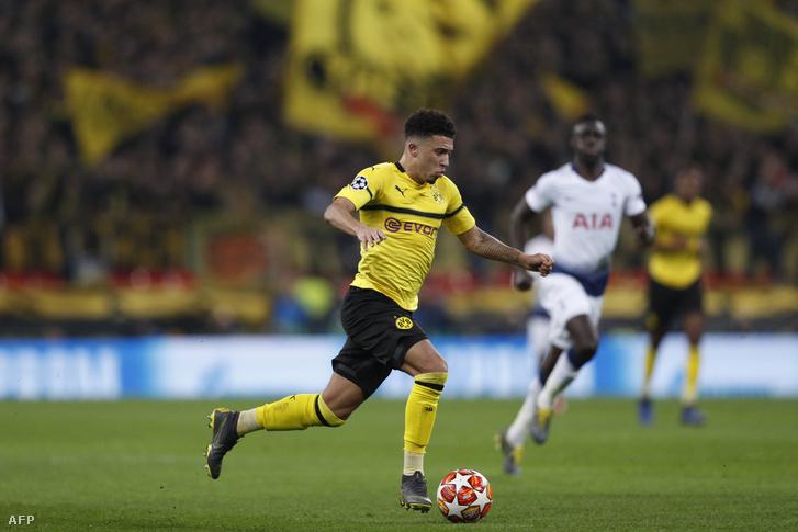 Jadon Sancho a Tottenham Hotspur - Borussia Dortmund mérkőzésen 2019. február 13-án.