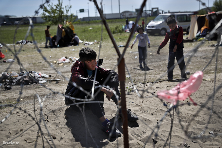 Menekültek a röszkei tranzitzónában 2016. április 16-án
