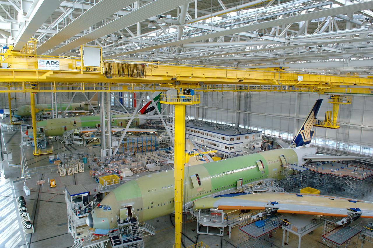 A380-asok a toulouse-i összeszerelő-üzemben, 2011. július 26-án.