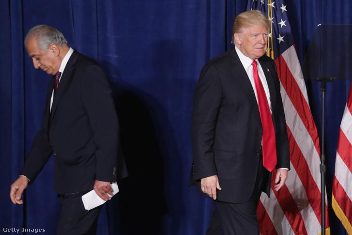 Zalmay Khalilzad és Donald Trump 2016-ban az elnöki kampányban