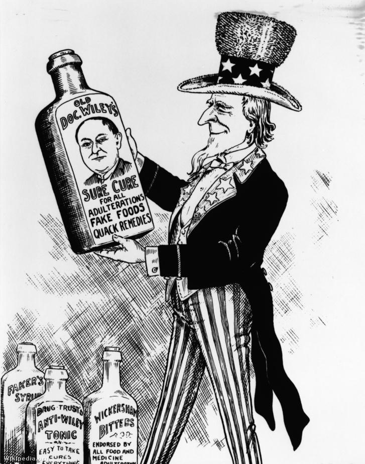Korabeli grafika, amivel Harvey Wiley munkásságát és az annak eredményeként 1906-ban életbe lépő Tiszta étel és gyógyszer törvény elfogadását méltatták