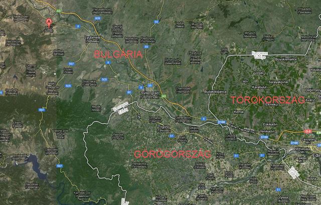 Biszer (piros markerrel jelölve a térképen) a hármas határtól pár kilóméterre fekszik