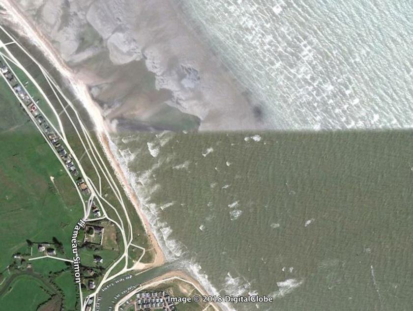 Apály és dagály Normandia partjainál.