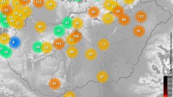 Kecskeméten, Miskolcon, Nyíregyházán és Putnokon veszélyes a levegő minősége