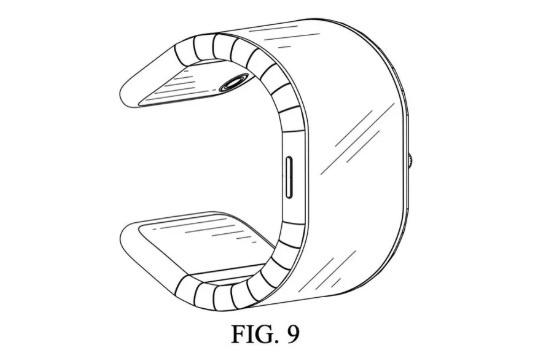 Okosórává hajlított telefon szabadalmi ábrája