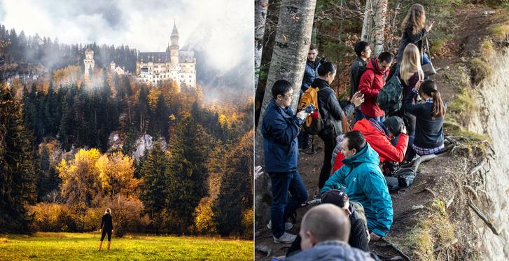 Neuschwanstein kastélya festői romantikában, de valójában alig lehet odaférni a dombra a fotóért