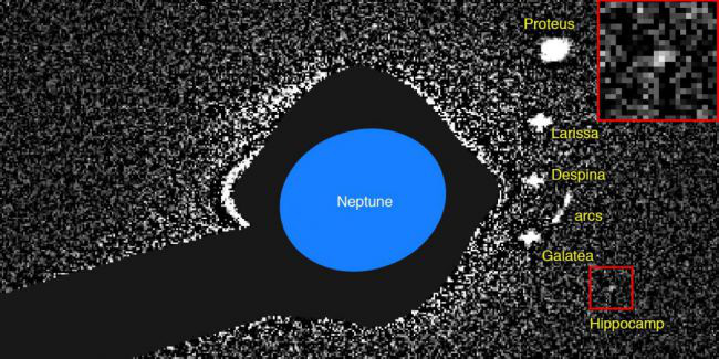 A Neptunusz belső holdjairól, közöttük a piros négyzetben látható Hippocampusról készített első felvétel