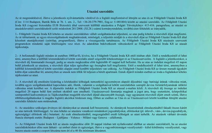 Travelex és Suli Sí által aláíratott utazási szerződés