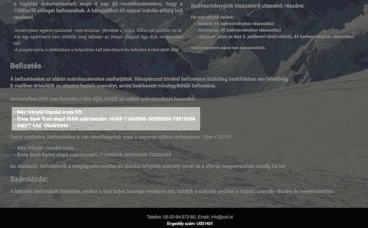 Suli Sí oldalán az Iránytű utazási engedélyszáma, 2019. február 17-i képernyőfotó