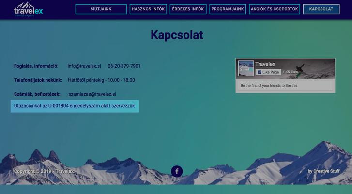 Travelex oldalán a Földgömb Utazási Iroda engedélyszáma szerepel, a képernyőfotó 2019. február 16-án készült