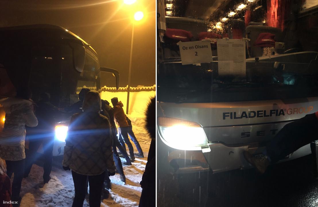 A hóba ragadt román buszt az utasoknak kellett kitolni, ami a Alpe D'Huez-i síterepre tartott. A busz lökhárítója törött, a szélvédője pedig repedt volt.