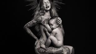 Újabb provokatív, meztelenül szoptatós képeket készített a magyar származású fotós