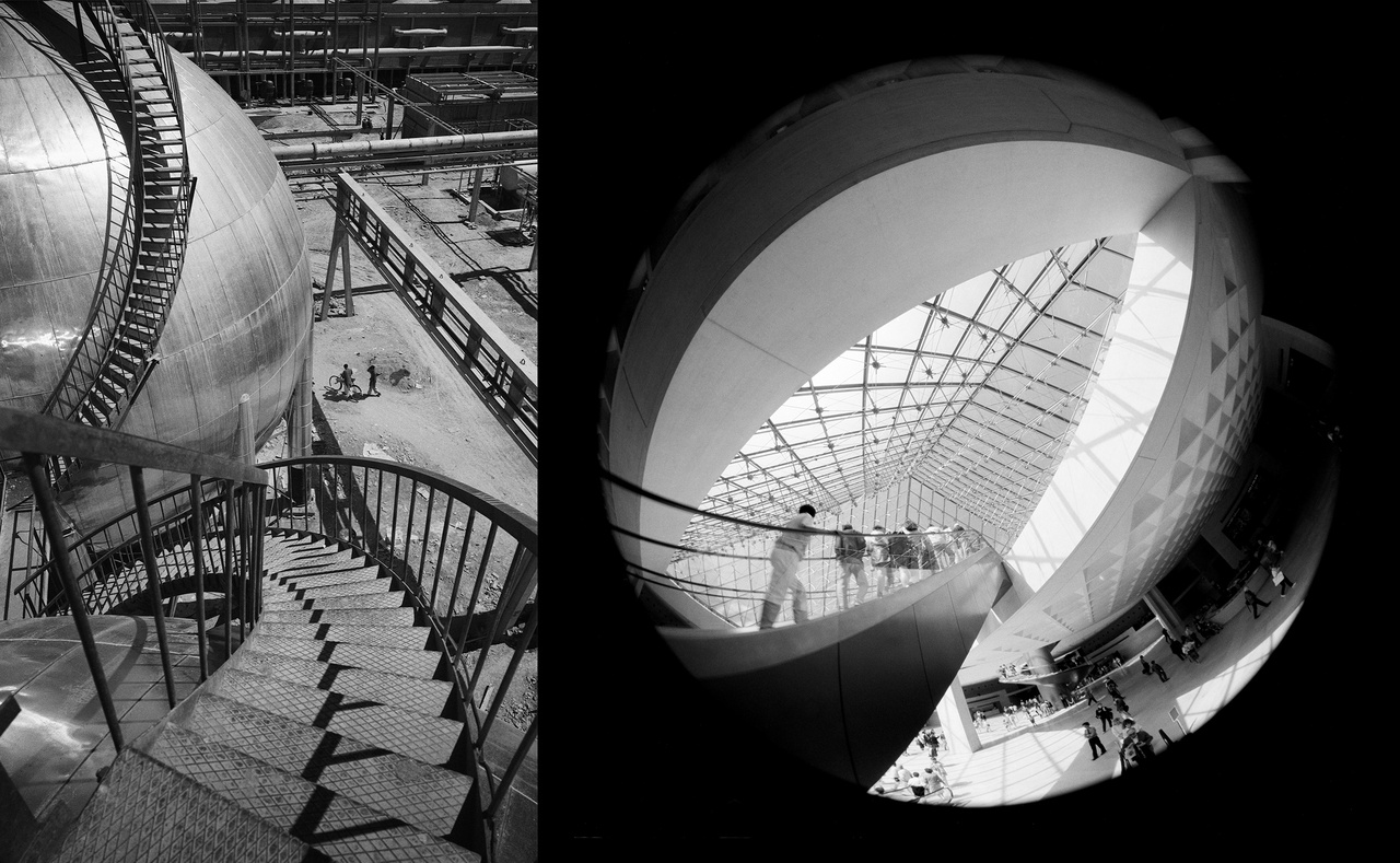 Lucien Hervé - Multán, Pakisztán 1961; Rodolf Hervé - A Louvre piramisa 1993 Párizs