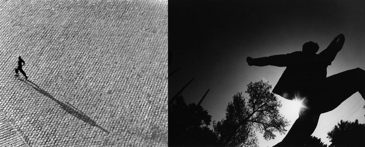 Lucien Hervé - Párizs az ablakomból nézve 1947 Párizs; Rodolf Hervé - Seggbesült élmunkás 1990 Budapest