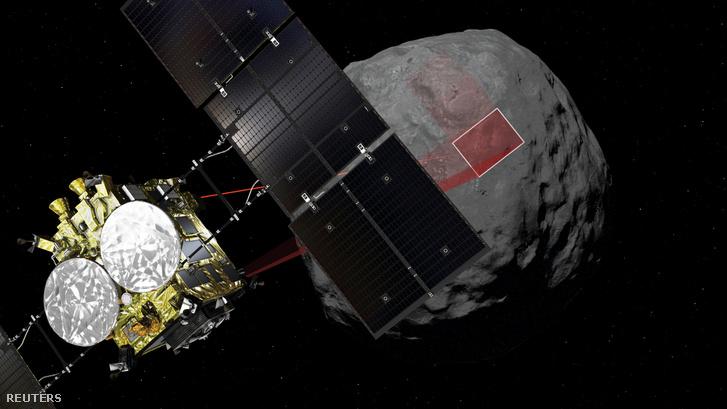 Számítógépes grafika a Hajabusza-2 űrszonda érkezési helyéről, a Ryugu felszínén 2019. február 22-én