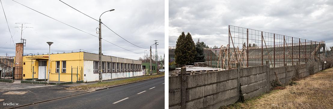 A Grabowsky volt épülete és a mögötte lévő lerobbant streetball pálya.