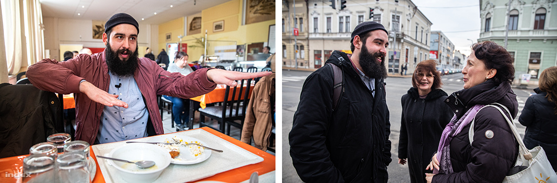 Bal: Ebéd a menzán - Jobb: Találkozás a középiskolai tanárnőkkel