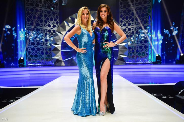Rogán Cecília (b) és Sarka Kata licenctulajdonosok, a zsűri tagjai a Magyarország Szépe - Miss World Hungary döntőjén 2018. július 8-án