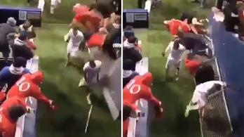 Korláttal együtt zuhantak a szurkolók a futballistára Némethék meccse után