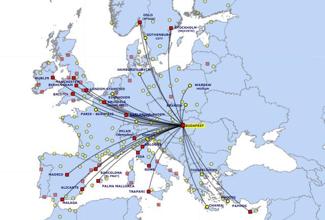 A Ryanair tervezett járatai Budapestről (Forrás: Ryanair)