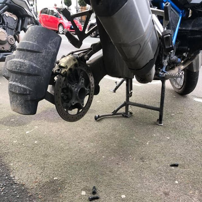 BMW GS rear wheel stolen London