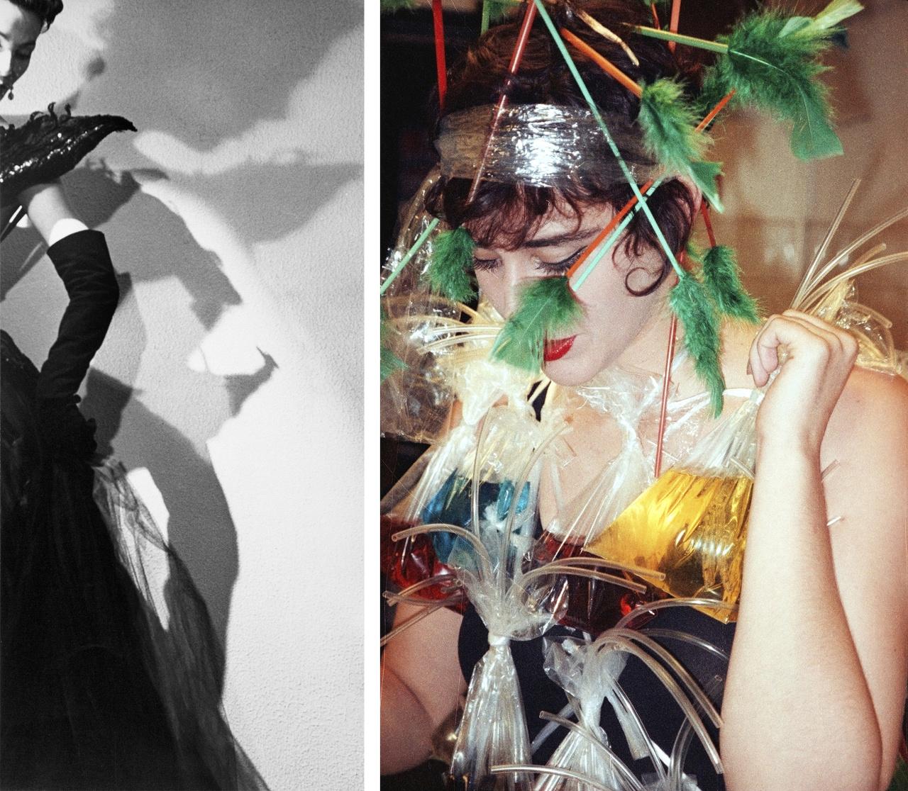 Lucien Hervé - Lucky, Dior ruhában 1948 Párizs; Rodolf Hervé - Koktélruha Király Tamás születésnapjára 1992 Budapest