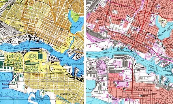 Oakland és a szomszédos Alameda 1981-es szovjet 8balra) és amerikai térképeken