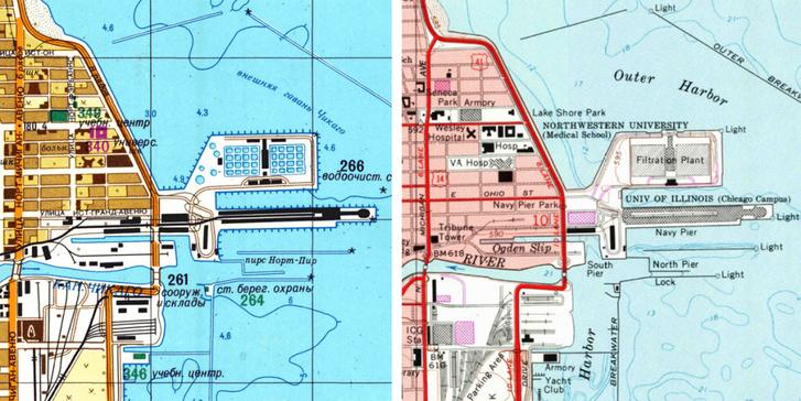 Chicagó Michigan-tó parti területei egy haditengerészeti kikötővel (balra az 1982-es szovjet, jobbra az 1984-es hivatalos amerikai térkép)