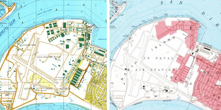 Balra: 1980-as szovjet kémtérkép a San Diegó-i haditengerészeti báziról,; jobbra ugyanaz az 1978-as amerikai térképen