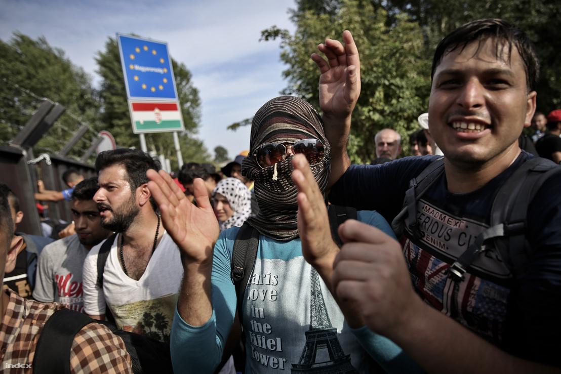 Menekültek a horgosi magyar határnál 2015. szeptember 15-én
