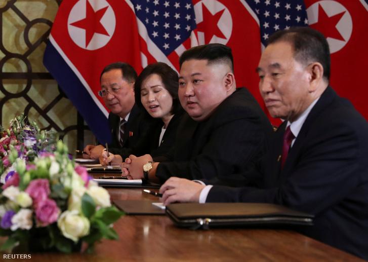 Kim Dzsongun a csúcstalálkozón.