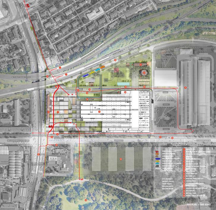 A Diller Scofidio + Renfro nyertes terve a Dieselcsarnok átalakítására. Az új Közlekedési Múzeum környezeti és közlekedési kapcsolatai
