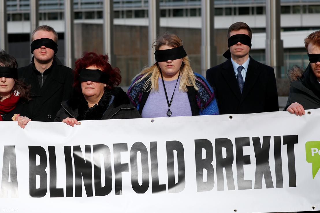 Tüntetők az Európai Parlament előtt, Brüsszelben 2019. február 7-én