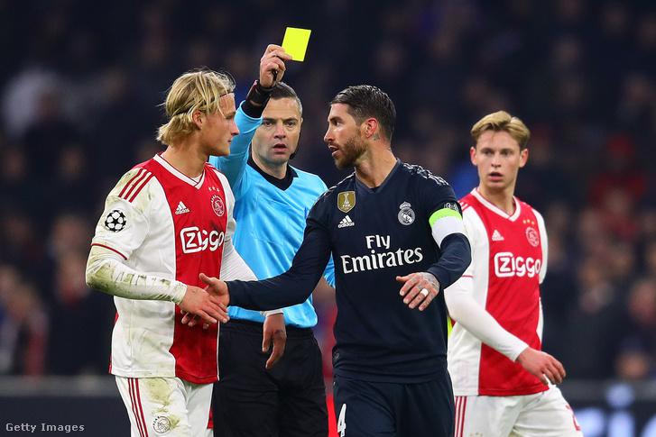 Sergio Ramos sárgalapja az Ajax elleni mérkőzésen 2019. február 13-án