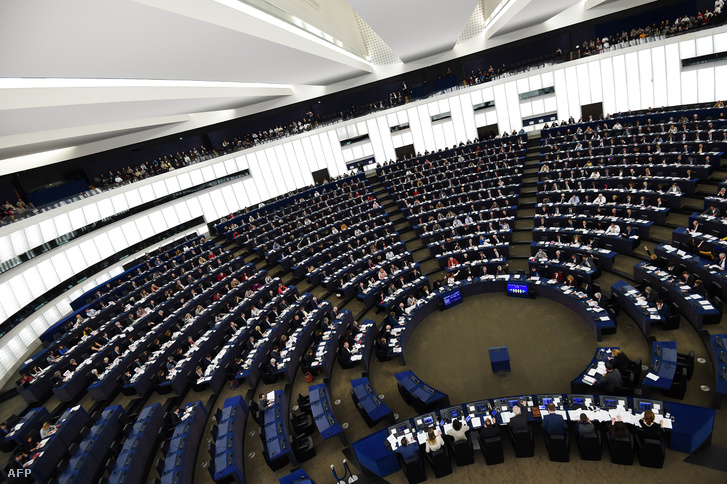 Members of the European Parliament voting during a plenary session at the European Parliament on February 13 2019, in Strasbourg.