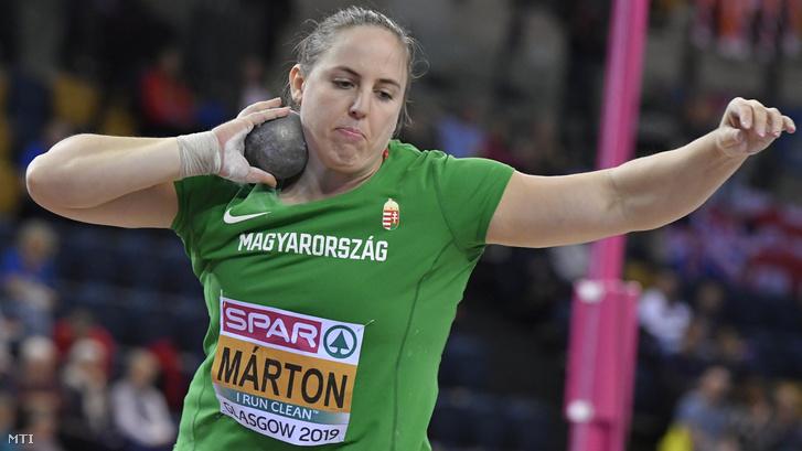 Márton Anita a női súlylökés döntőjében a glasgow-i fedettpályás atlétikai Európa-bajnokságon az Emirates Arénában 2019. március 3-án.