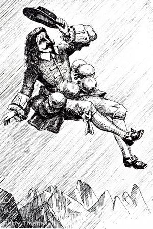 A holdbéli utazás egyik jelenete, amikor Cyrano harmattal töltött palackokat aggat testére, majd amikor a nap felszívja a harmatot, ő is a levegőbe emelkedik