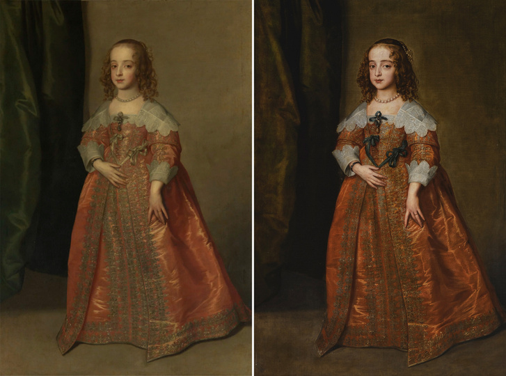 Bal oldalon a festmény windsori Királyi Gyűjteményben található változata, jobb oldalon a Sotheby's által 2018 decemberében eladott narancssárga ruhás, kék szalagos verzió. A szakértők szerint csak a harmadik, a budapesti kép készült élő modell után.